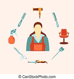 Vector illustration of hairdresser and equipment collection