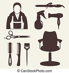 Vector illustration of hairdresser and equipment set