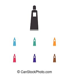 Vector Illustration Of Hairdresser Symbol On Bottle Icon. Premium Quality Isolated Toothpaste Element In Trendy Flat Style.