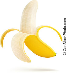 Vector illustration of half peeled banana isolated on a white background