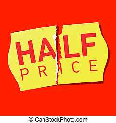 Half price sticker - Vector illustration of Half price...