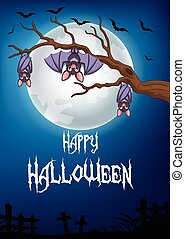 Halloween background with bat