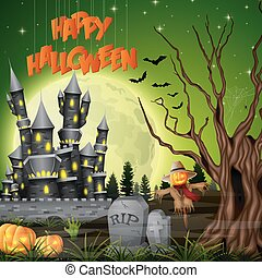 Halloween background with castle and scarecrow
