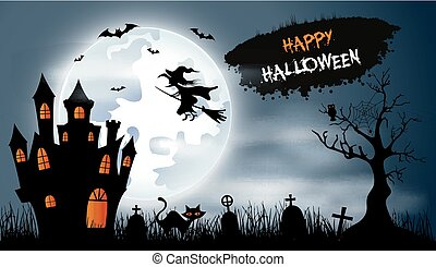 Halloween background with cemetery, bats and castle - Vector...