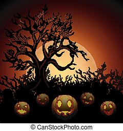 Halloween background with dry tree and pumpkins in graveyard on the moon background