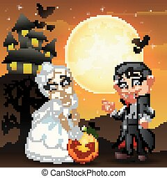 Halloween background with female skull bride holding pumpkin and little boy dracula