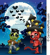 Halloween background with kids frankenstein and red devil