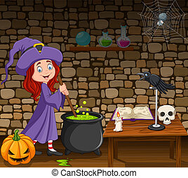 Halloween background with little witch stirring magic potion...