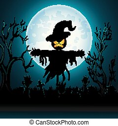 Halloween background with Scary scarecrow in Graveyard