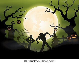 Halloween background with zombie in
