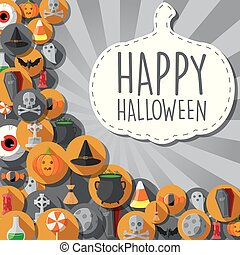 Halloween banner with flat icons in circles background