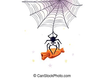 Vector illustration of halloween candies. Cartoon spider...