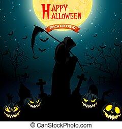 Halloween grim reaper holding scythe with pumpkins