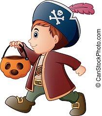 Halloween little pirate with pumpkin basket
