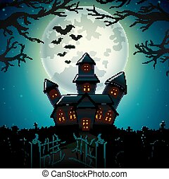 Halloween night background with castle in graveyard