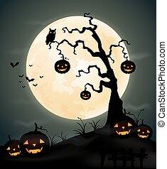 Halloween night background with pum