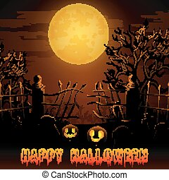 Halloween night background with pumpkins in graveyard on the full moon