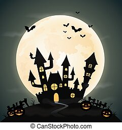 Halloween night background with the