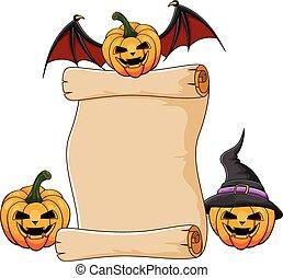 Halloween pumpkin with paper scroll