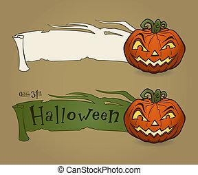 Halloween pumpkin with ribbon