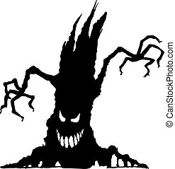 Halloween scary tree silhouette - Vector illustration of...