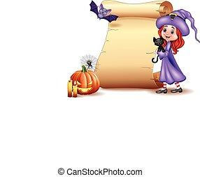 Halloween sign with little witch, bat, spider, candies, pumpkin and black cat