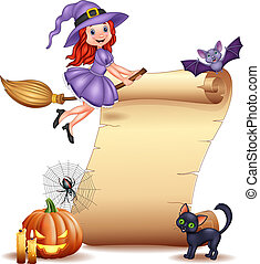 Halloween sign with little witch, bat, spider, web, candles, pumpkin and black cat