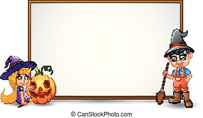 Halloween sign with witch, boy, and pumpkin