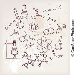 Hand draw chemistry on background - Vector illustration of...