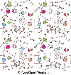 Hand draw chemistry pattern - Vector illustration of Hand...