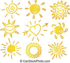 Hand-draw sun set - Vector illustration of Hand-draw sun set