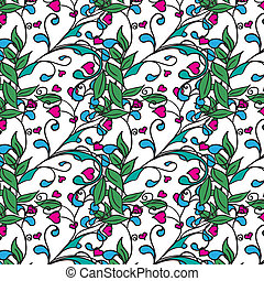 Hand drawing floral background. Seamless pattern