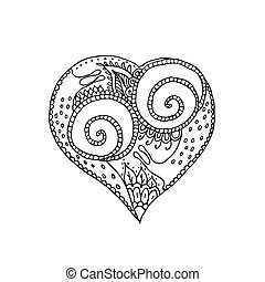 Vector illustration of hand drawing heart with snail couple in love. Coloring page book for Valentine day