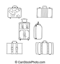 Vector illustration of hand drawing suitcases set.