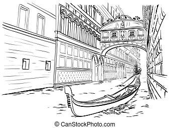 Bridge of Sighs, Venice sketch - Vector illustration of hand...