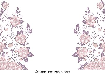 Hand drawn decorative vector background with flowers