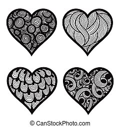 vector illustration of hand-drawn doodle hearts