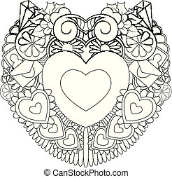 Hand drawn doodles happy valentines day with symbol and elements theme form heart