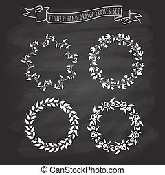 vector illustration of hand drawn flower and floral wreaths in flat linear design style on textured blackboard background as a template for invitations, personal cards, prints, decorations, patterns.