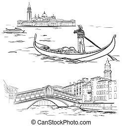 Gondolier near Lido island, Rialto Bridge, Venice - Vector...