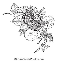 Vector illustration of hand drawn graphic butterfly on...