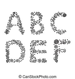 hand drawn letters on white background