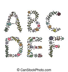 hand drawn letters on white background - Vector illustration...