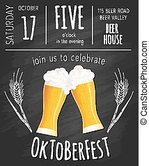 Vector illustration of hand drawn oktoberfest poster with two flat beer mugs on chalkboard