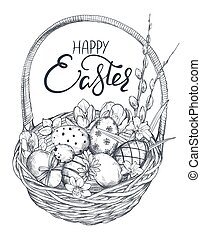 Vector illustration of hand drawn ornate eggs and spring flowers in the basket.