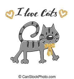 Vector illustration of hand drawn sketch . Cat with golden bow.