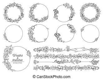 Vector illustration of hand drawn wreaths.