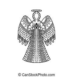 Vector illustration of hand drawn zentangle angel. New year coloring page book antistress
