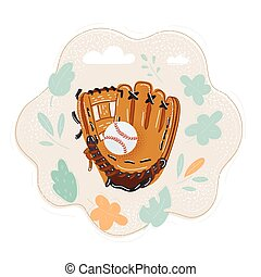 Vector illustration of hand in baseball glove with ball.