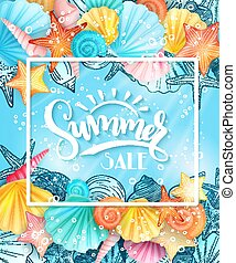 vector illustration of hand lettering text - summer sale - with frame and seashells on sea water background
